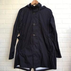 REI Black Trench Rain Coat w/ Hood